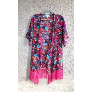 LULAROE Retro Floral Printed Fringe Monroe Kimono